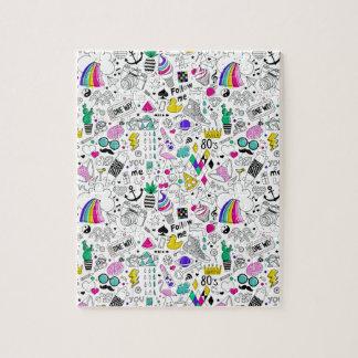 Super Fun Black White Rainbow 80s Sketch Cartoon Jigsaw Puzzle