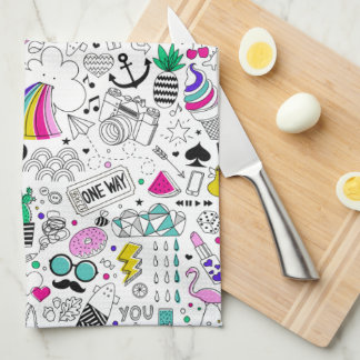 Super Fun Black White Rainbow 80s Sketch Cartoon Tea Towel
