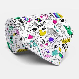 Super Fun Black White Rainbow 80s Sketch Cartoon Tie