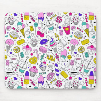 Super Fun Black White Rainbow Sweet Sketch Cartoon Mouse Pad