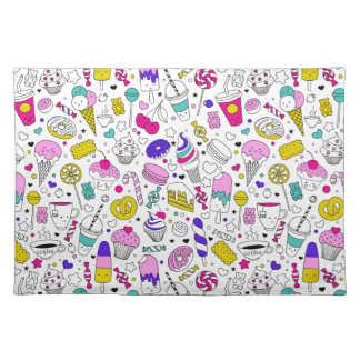 Super Fun Black White Rainbow Sweet Sketch Cartoon Placemat