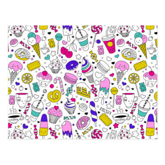 Super Fun Black White Rainbow Sweet Sketch Cartoon Postcard