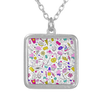 Super Fun Black White Rainbow Sweet Sketch Cartoon Silver Plated Necklace