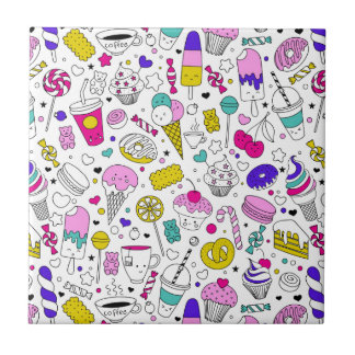 Super Fun Black White Rainbow Sweet Sketch Cartoon Tile