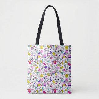 Super Fun Black White Rainbow Sweet Sketch Cartoon Tote Bag
