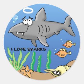 Super fun cool surfer cartoon shark sticker