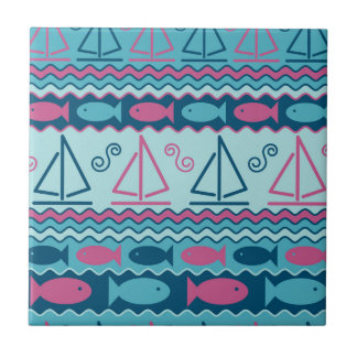 Super Fun Fish And Sailboat Pattern Ceramic Tile