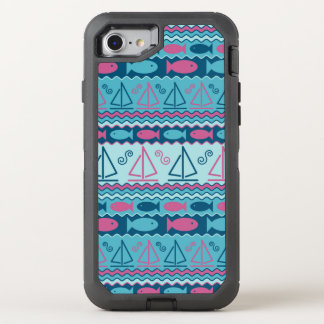Super Fun Fish And Sailboat Pattern OtterBox Defender iPhone 8/7 Case