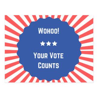 Super fun Wohoo! Your Vote Counts postcards! Postcard