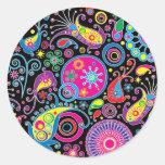 Super Funky Paisley Pattern Round Sticker