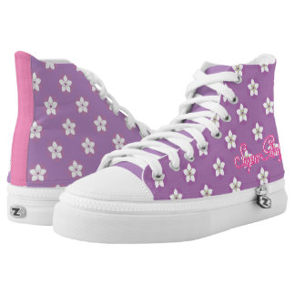 Super Girly Floral ZIPZ High Tops Printed Shoes Printed Shoes