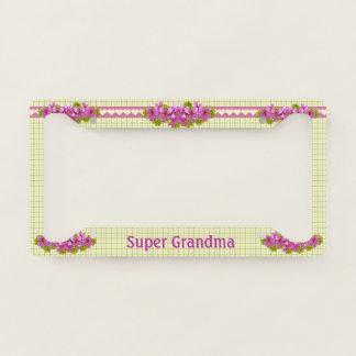 Super Grandma Vintage Plaid Custom Licence Plate Frame