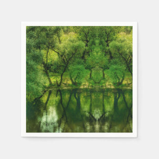 Super Green River Tree Reflections Paper Napkin