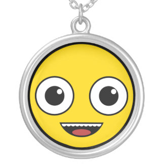 Super Happy Face Silver Plated Necklace