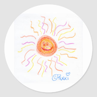 Super Happy Sun Round Stickers