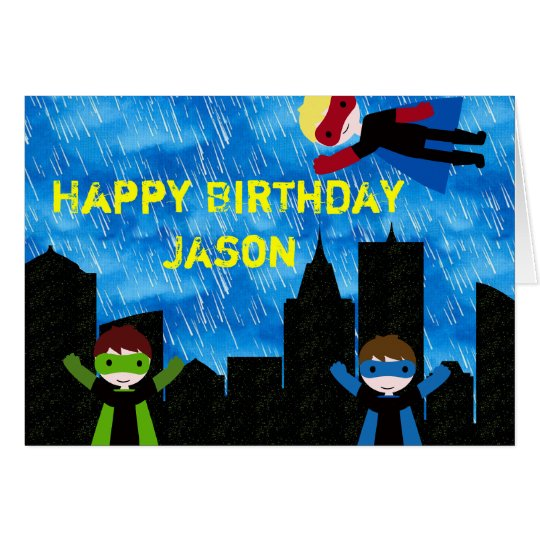 Super Hero Boys Bithday Party Card