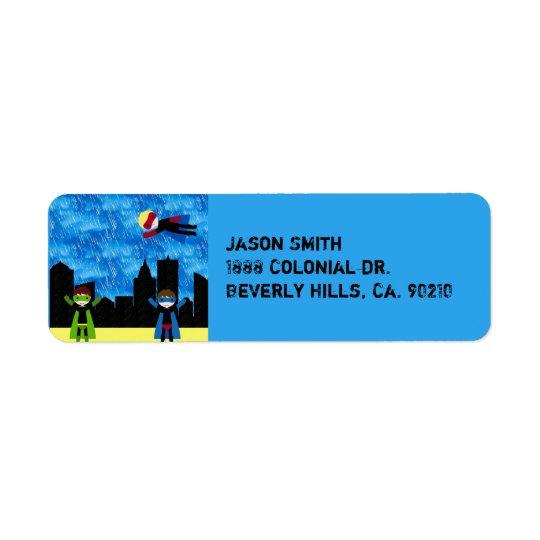 Super Hero Boys Bithday Party Return Address Label