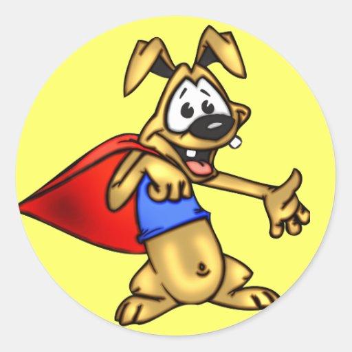 Super Hero Cartoon Dog Puppy Round Stickers