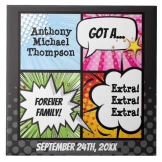 Super Hero Comic Book Adoption, Family Gift Ceramic Tile