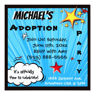 Super Hero Comic Book Adoption Party Card
