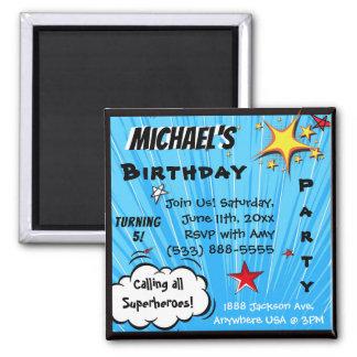 Super Hero Comic Book Blue Birthday, Family Gift Magnet