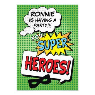 Super Hero Comic Strip Mask Custom Kids Birthday 13 Cm X 18 Cm Invitation Card