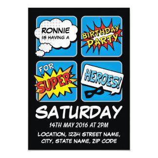 Super Hero Comic Strip Personalized Kids Birthday 13 Cm X 18 Cm Invitation Card