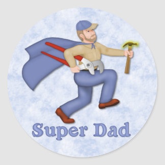 Super Hero Dad Classic Round Sticker