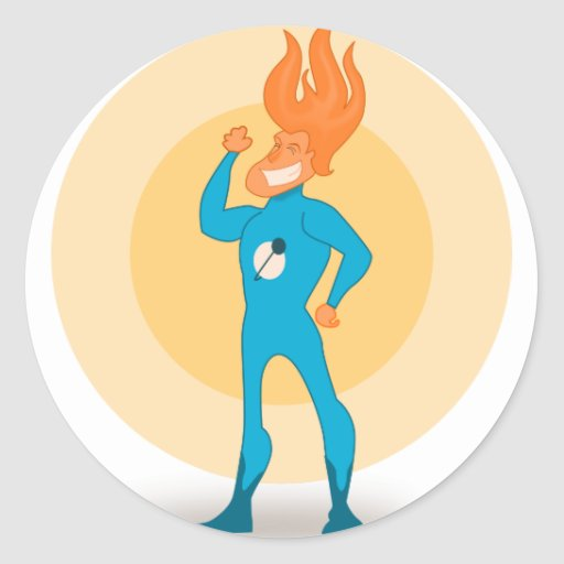 Super Hero Flame Round Stickers