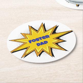 Super Hero Foster Dad Round Paper Coaster