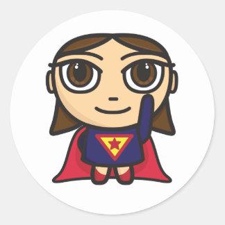 Super Hero Girl Character Round Sticker