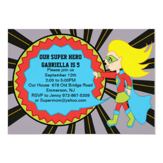 "Super Hero Girls Birthday Invitation 5"" X 7"" Invitation Card"