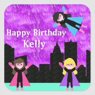 Super Hero Girls Bithday Party Square Sticker