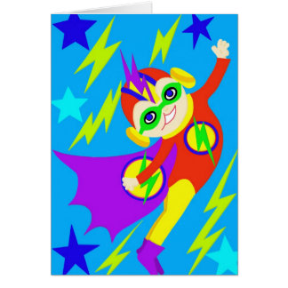 super Hero Kid Flying off to Save the World Card