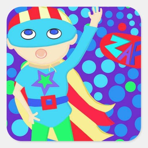 Super Hero  Kid Square Sticker