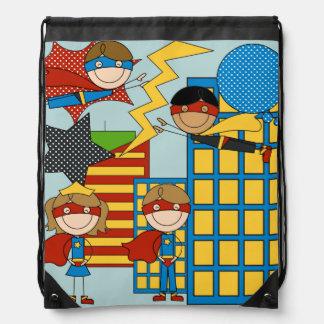Super Hero Kids Drawstring Backpack Bag