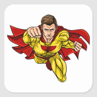 Super Hero Square Sticker