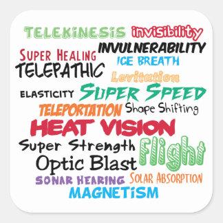 Super hero super powers square sticker