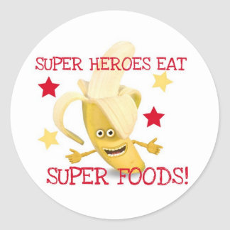 Super Heroes EAT Super Foods Classic Round Sticker