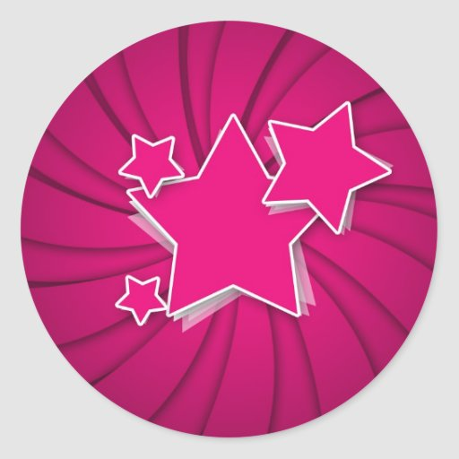 Super Hot Pink Stars and Swirl Background Stickers