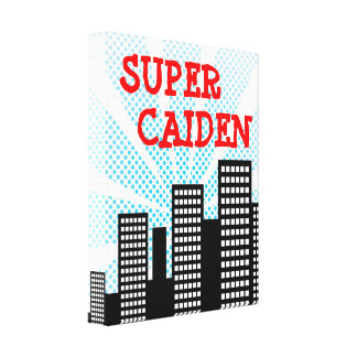 Super Kid Comic Book Hero Personalized Boys Canvas Stretched Canvas Prints