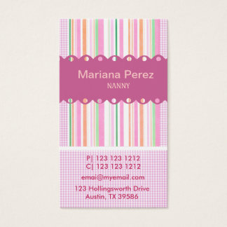 Super Modern Pink Girly Stripes Gingham Patterns Business Card