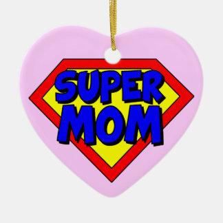 Super Mom Heart Shaped Ornament