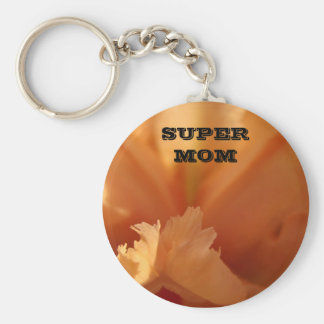 SUPER MOM Keychain Orange Iris Flower Mothers