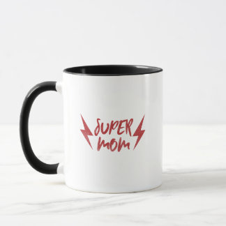 Super Mom Red Lightning Bolt Super Mug