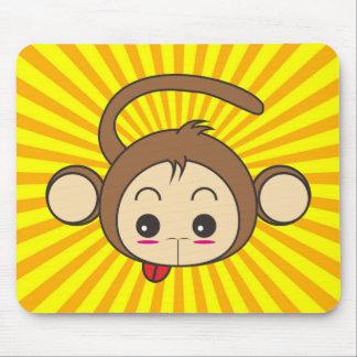 Super Monkey Face on Sunburst Background Mouse Pad