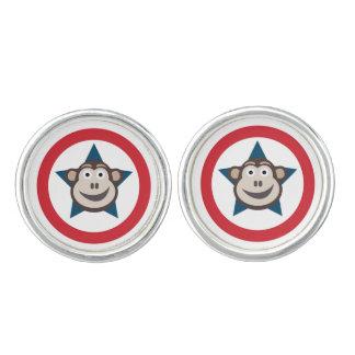 Super Monkey Round Cufflinks (Silver Plated)
