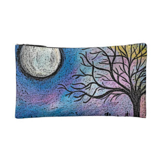 Super Moon and Tree Landscape Cosmetic Bags