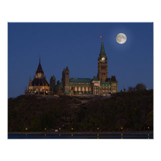 Super moon over Parliament Hill Poster