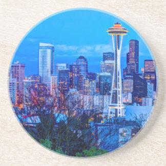 Super Moon rising near Seattle skyline Drink Coaster